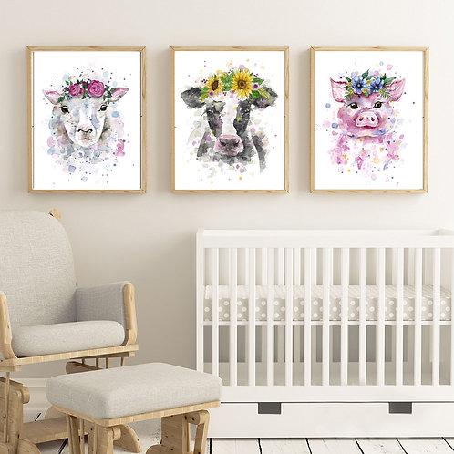 3x Farm animal prints