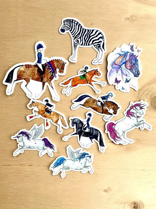 10x Horse Sticker Mega Pack