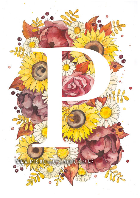 Letter Florals - Yellow