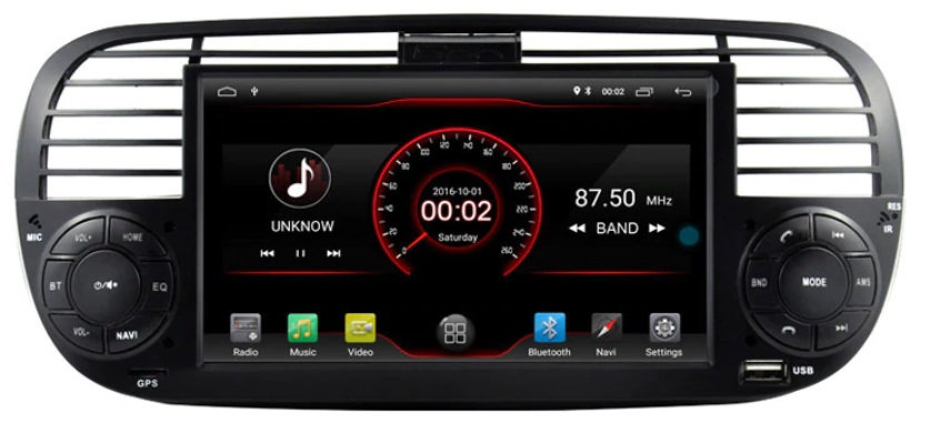 Radio 2 din Android do Fiat 500 z DSP