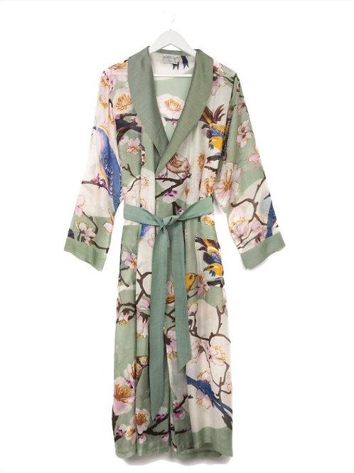 Aqua Blossom & Birds Kimono