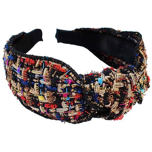 Black Tweed Knotted Headband