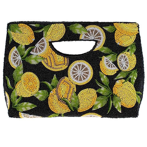Mary Frances Zesty Beaded Lemons Clutch