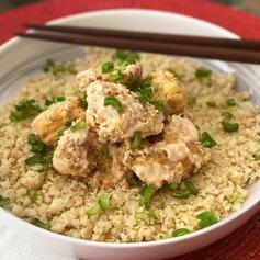 Camarones roca sobre arroz de coliflor 🤤