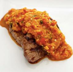 Filete con salsa de pimientos rostizados 🔥