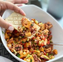 Ceviche de pulpo 🐙 en salsa preparada con Huichol 🔥
