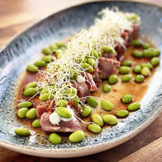 Tataki de atún con wasabi y edamame 🤤