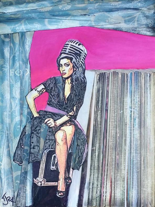 """Amy Winehouse - Approx 9"""" x 12"""" x 1"""" (23 x 30 x 2cm)"""