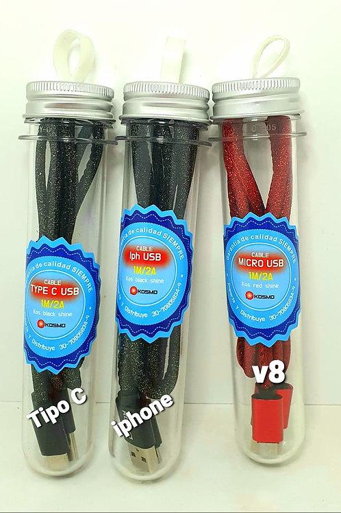 Cable cargador tipo C ,V8 Y IPHONE