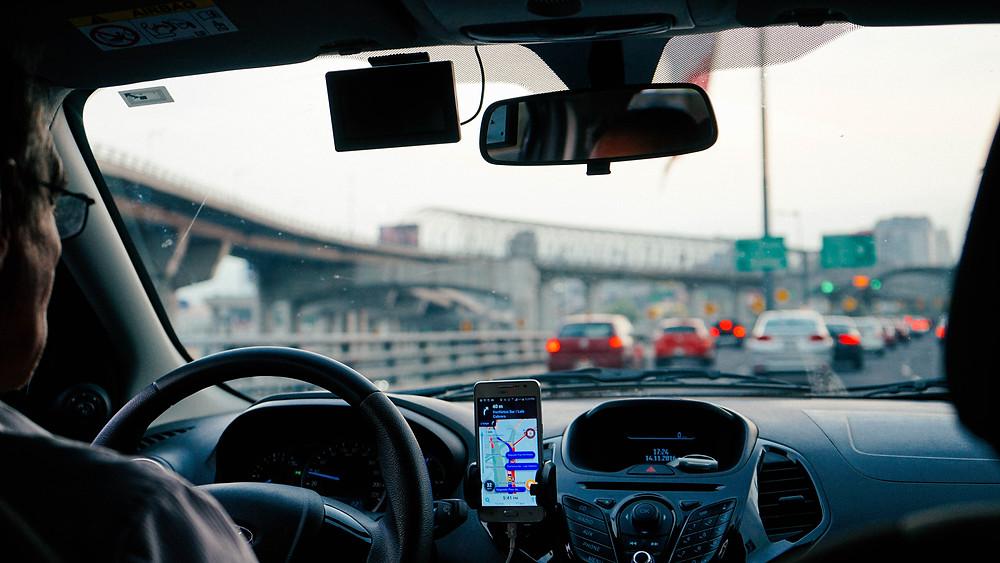 Uber car driving.