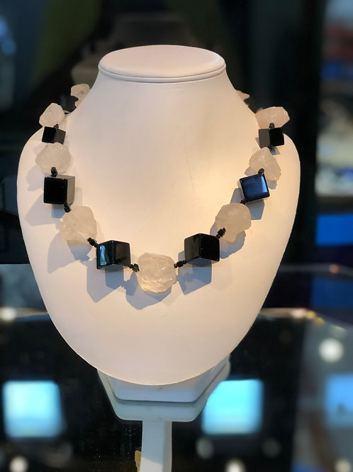 Onyx and Crystal Necklace