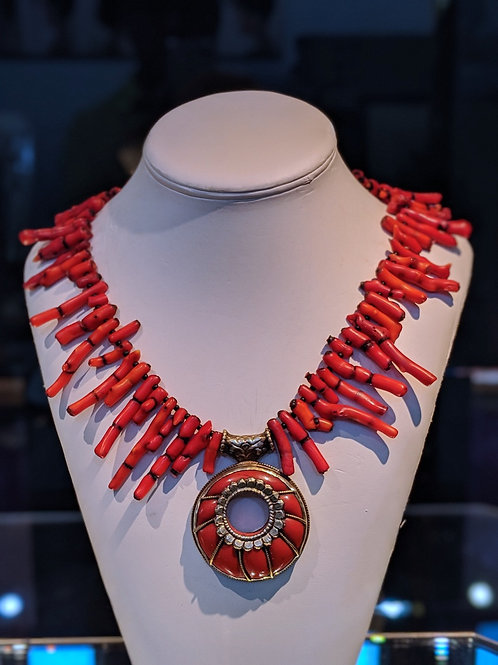 Red Coral Necklace with Double-sided Pendant