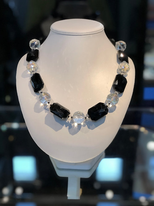 Black Glass and Crystal Necklace