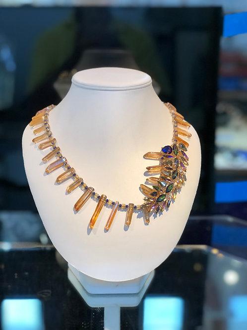 Titanium Quartz Points and Runway Costume Necklace
