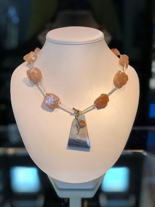 Quartz and Picture Agate Necklace