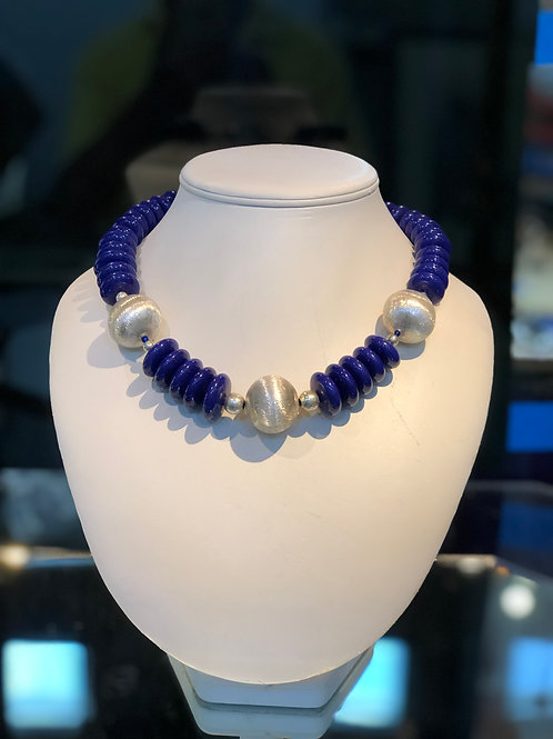 Brizilian Lapis Resin Beads and Silver Alloy Necklace