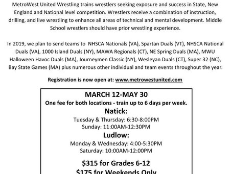 Metrowest United Wrestling Comes to Team Link Ludlow!