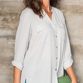 Women's roll up sleeve utility shirt with high low hem, everyday smart casual