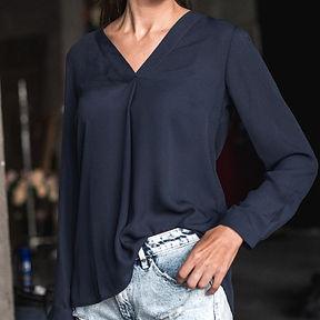 Womens V-neck long sleeve blouse, graceful drape, feminine look, soft silky crepe