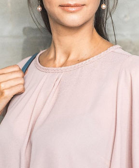 Women's angelsleeve top with hand braided neckline and bubble hem