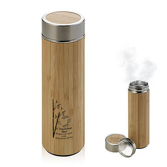Bouteille isotherme double paroi en bambou et acier inoxydable