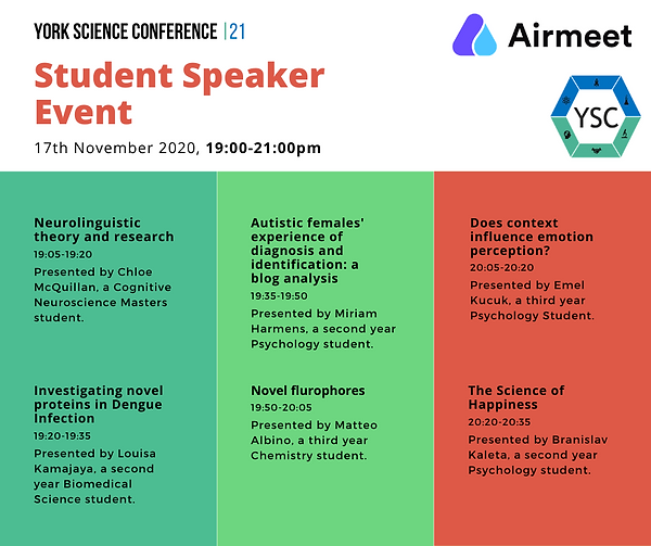 Student Speaker Event names and topics