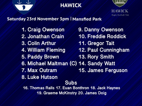 LINE UP: Hawick vs Musselburgh