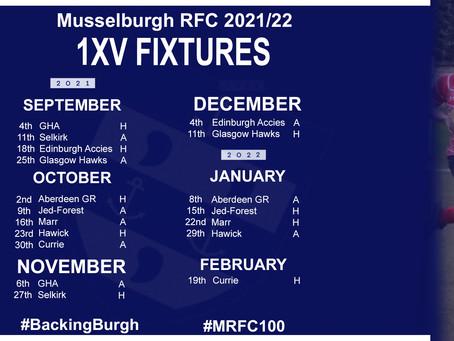 2021/22 Fixtures Released