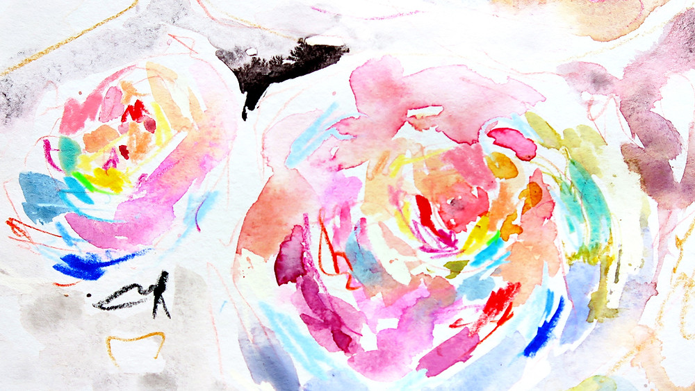 mixed media watercolor rainbow flowers
