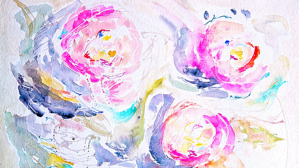 colorful watercolor flowers pink and violet
