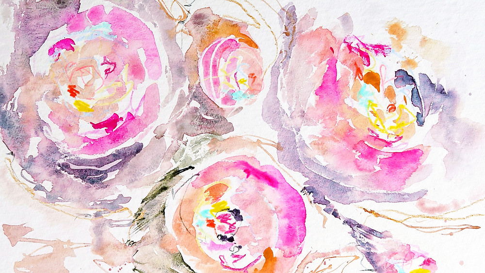 holbein bright rose watercolor abstract floral