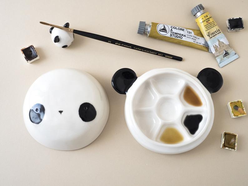 panda watercolor palette handmade