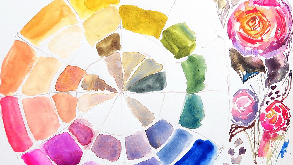 watercolor color choices, color wheel