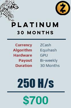 Zcash - 30 Months @ 250 H/s