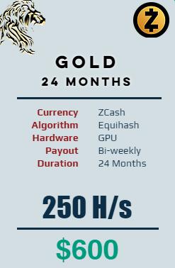 Zcash - 24 Months @ 250 H/s