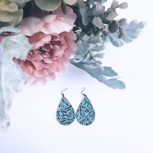 Teal and Brown Diffuser Earrings