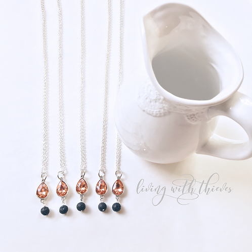 Long champagne teardrop diffuser necklace