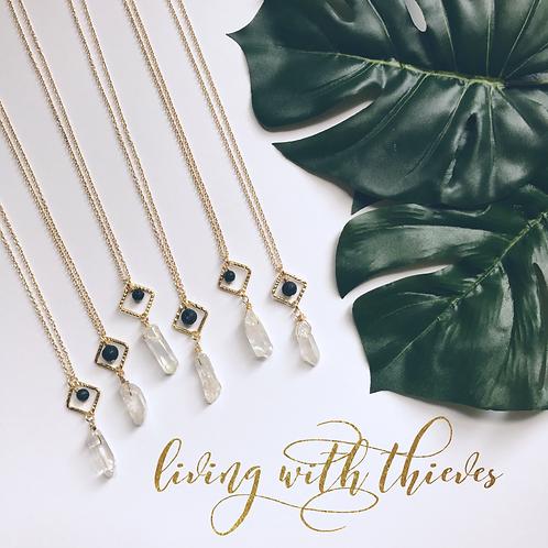 Gold Crystal Quartz diffuser necklace