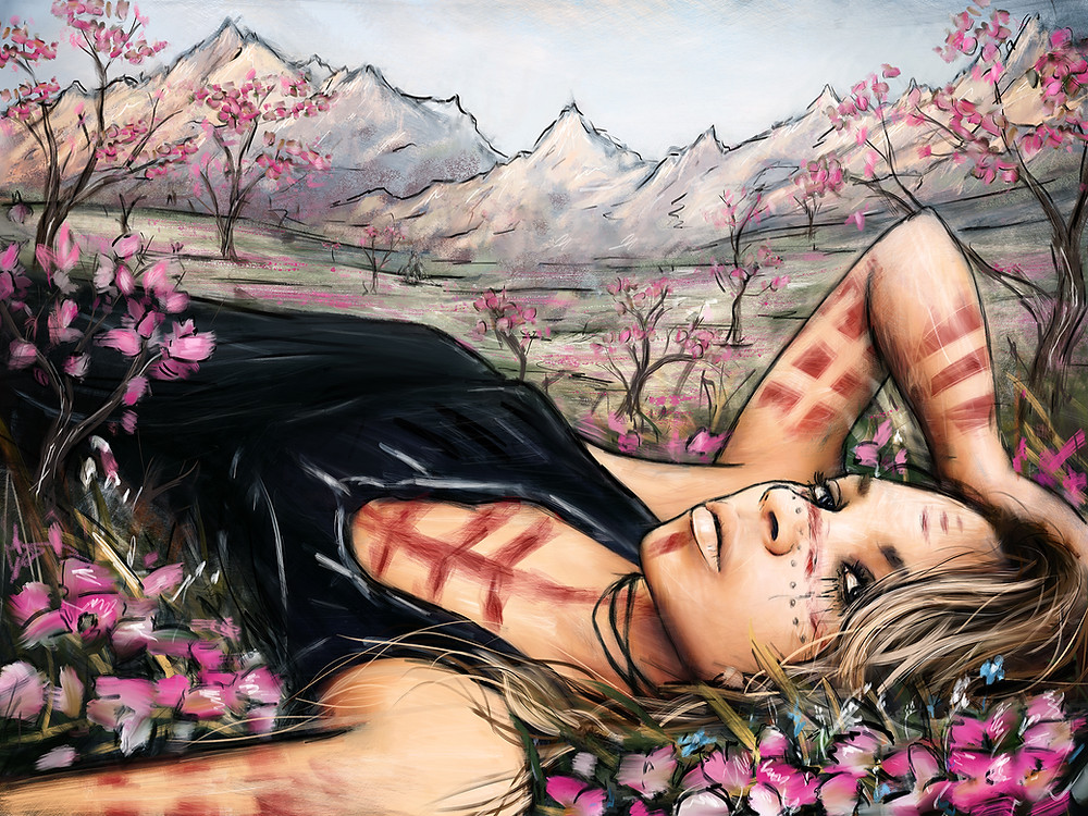 After Winter digital painting of a woman lying in a field of cherry blossoms