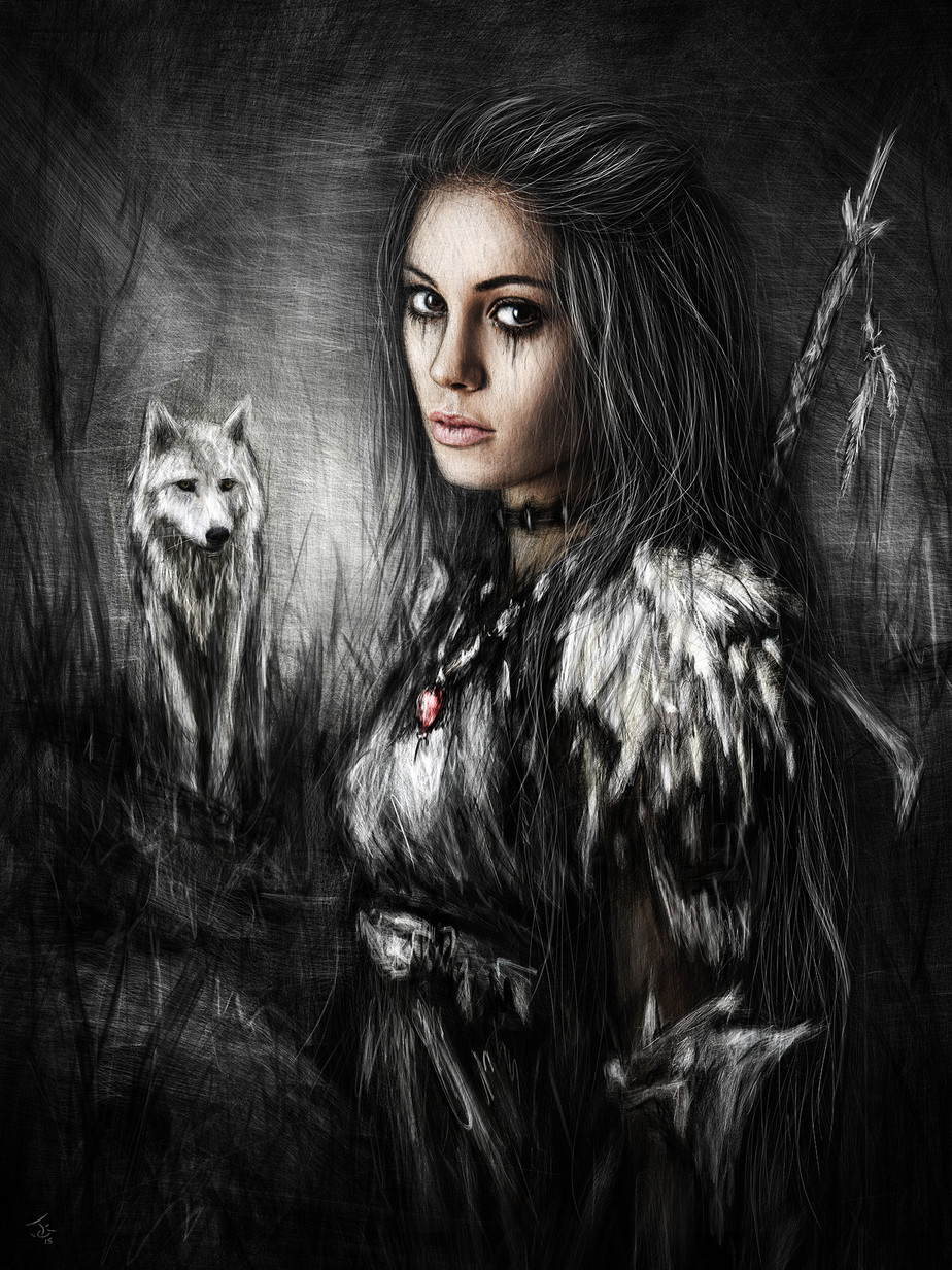 Northern Wolf: A Gothic Fantasy Painting