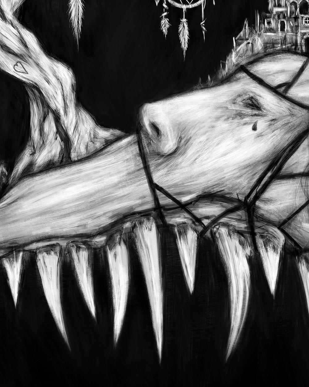 Black and white monster