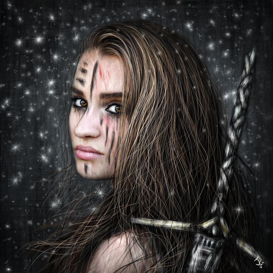 Barbarian's Gaze: A Snowy Nighttime Fantasy Portrait