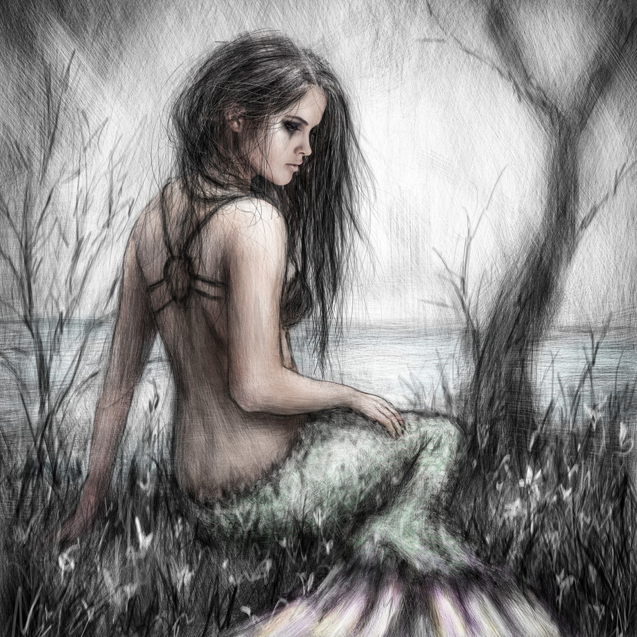Mermaid's Rest: a Digital Painting of a Gothic Mermaid