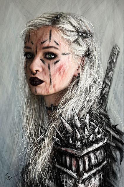 Alt girl goth portrait painting