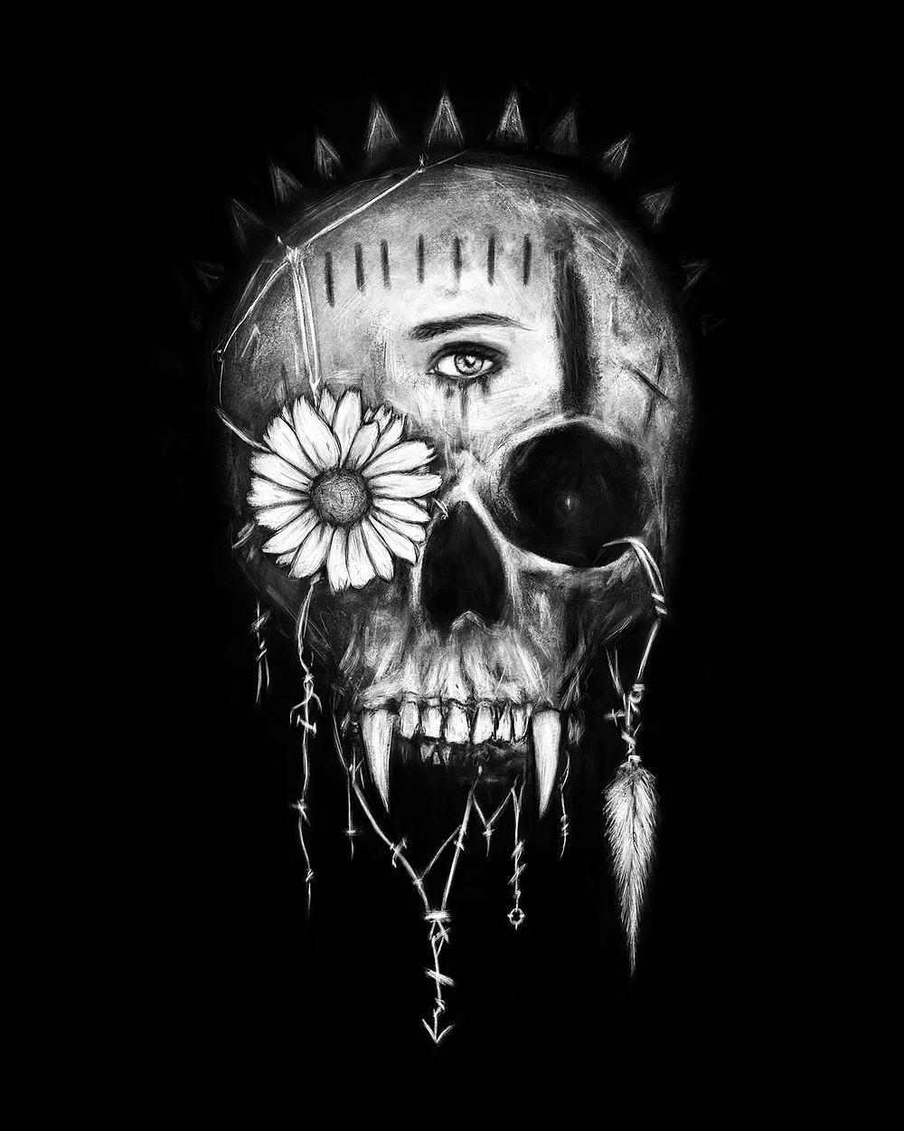 Gothic black and white vampire skull