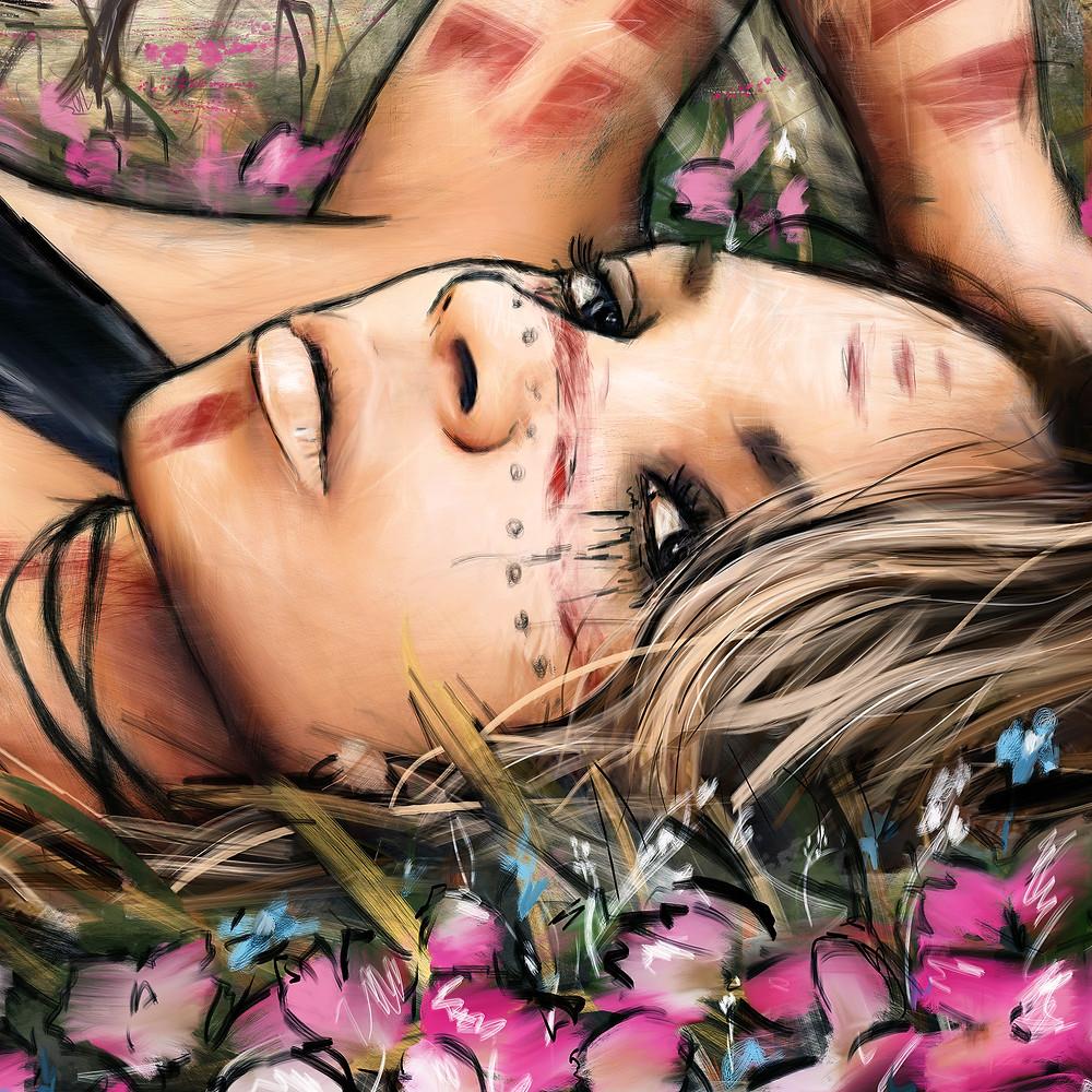 Digital portrait painting detail by Justin Gedak