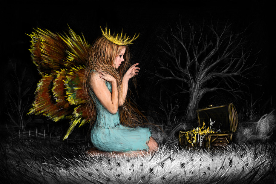 Treasures in the Dark: A Surreal Fairy Painting