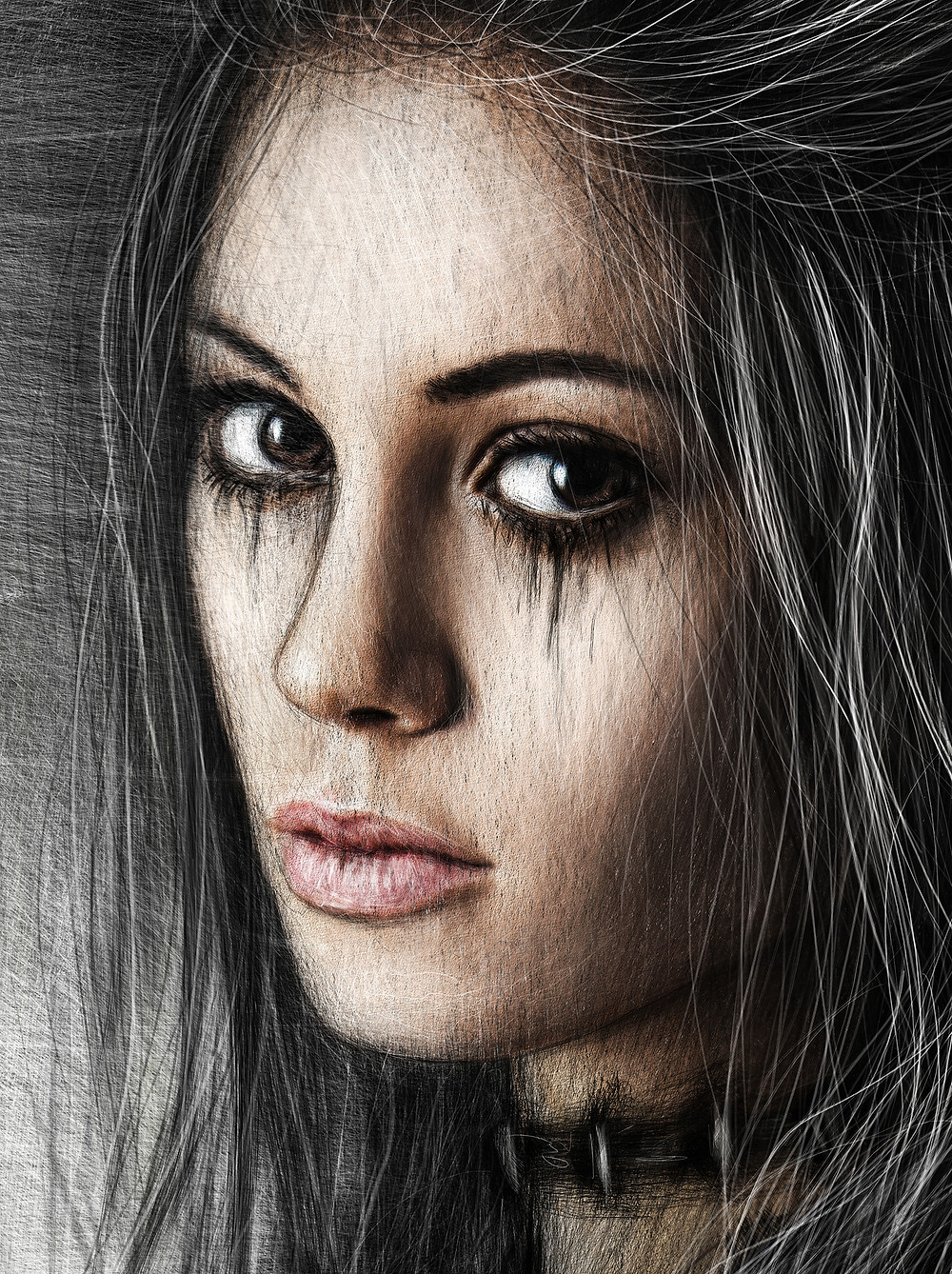 Beautiful digital portrait painting