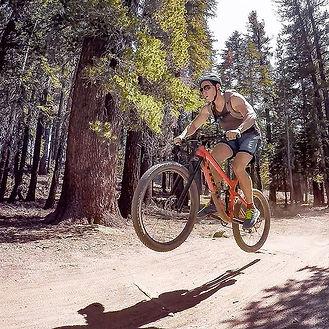 Alexis biking in Mammoth, California