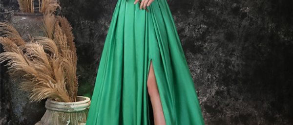 Simple Aline Satin Long Evening Dress/ Prom gown by Ivory Bliss